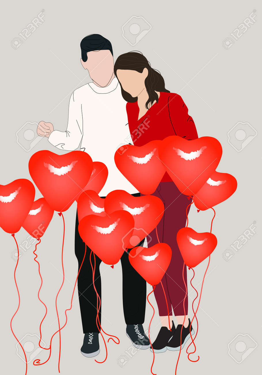 Happy young couple with decoration of heart shaped balloons. Valentine's day celebration - 158722235