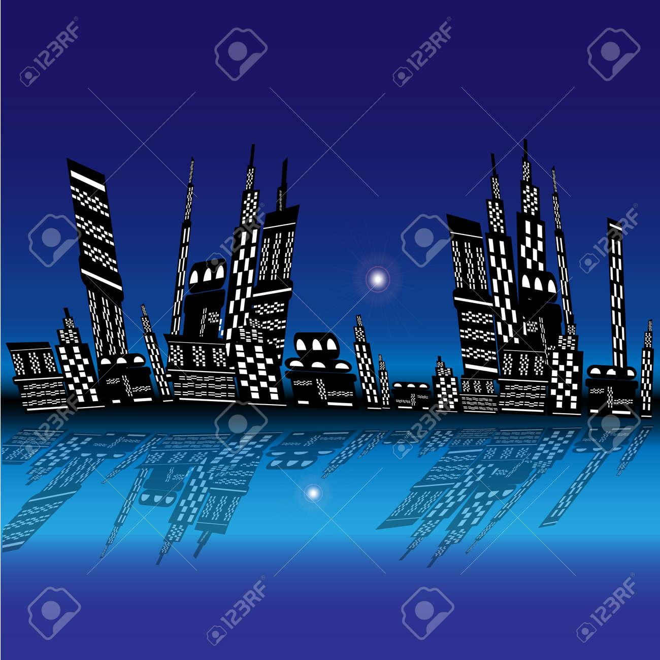 Vettoriale Sullo Sfondo Del Blu Notte Non Dormì Gli Edifici Della