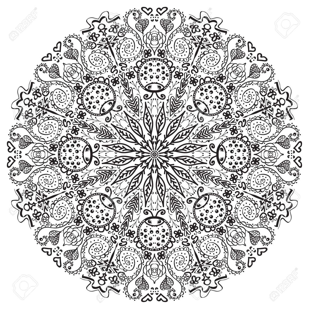 images mandala black white black pattern on a white background