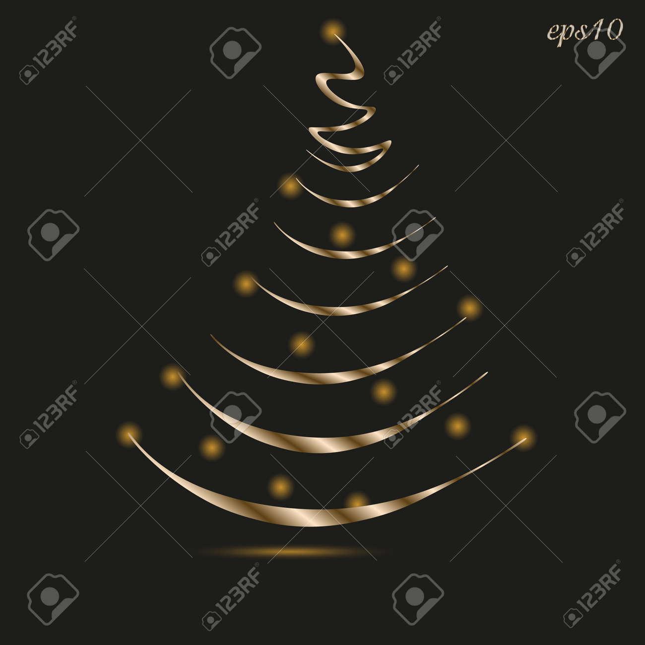 Elegant Christmas Tree Abstract, Author Design Gold Metal Lantern ...