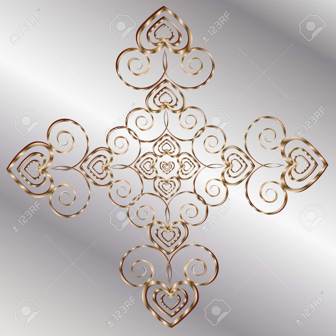 Tarjeta De San Valentín Mandala Simétrica Corazón Autor Del Diseño ...
