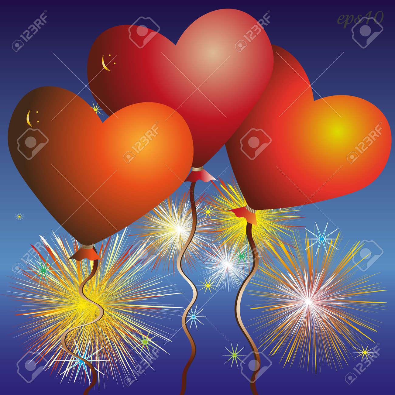 Trois Coeur Rouge Ballon Résumé Célébration Feu D Artifice Composition Auteur Conception Volume Smiley Carte De Voeux Saint Valentin Amour Romantique