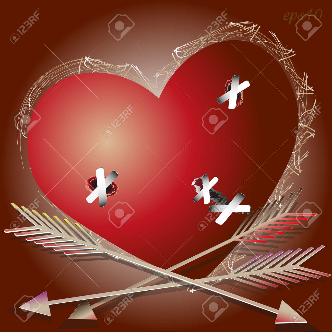 The wounded heart abstract valentine greeting card writer design the wounded heart abstract valentine greeting card writer design cupid arrow wound to seal the plaster m4hsunfo
