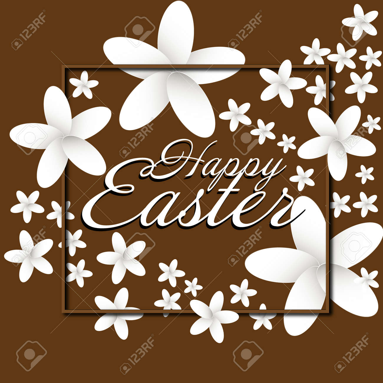 Happy Easter Flowers Frame Paper Flowers Easter Greeting Card