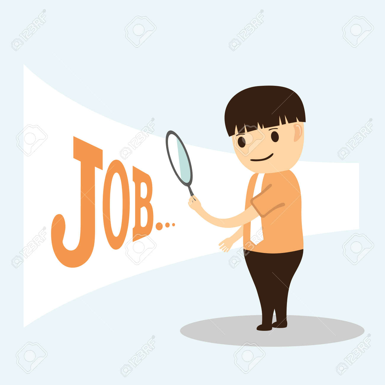 Businessman Cartoon Looking For Job And Work Royalty Free Cliparts