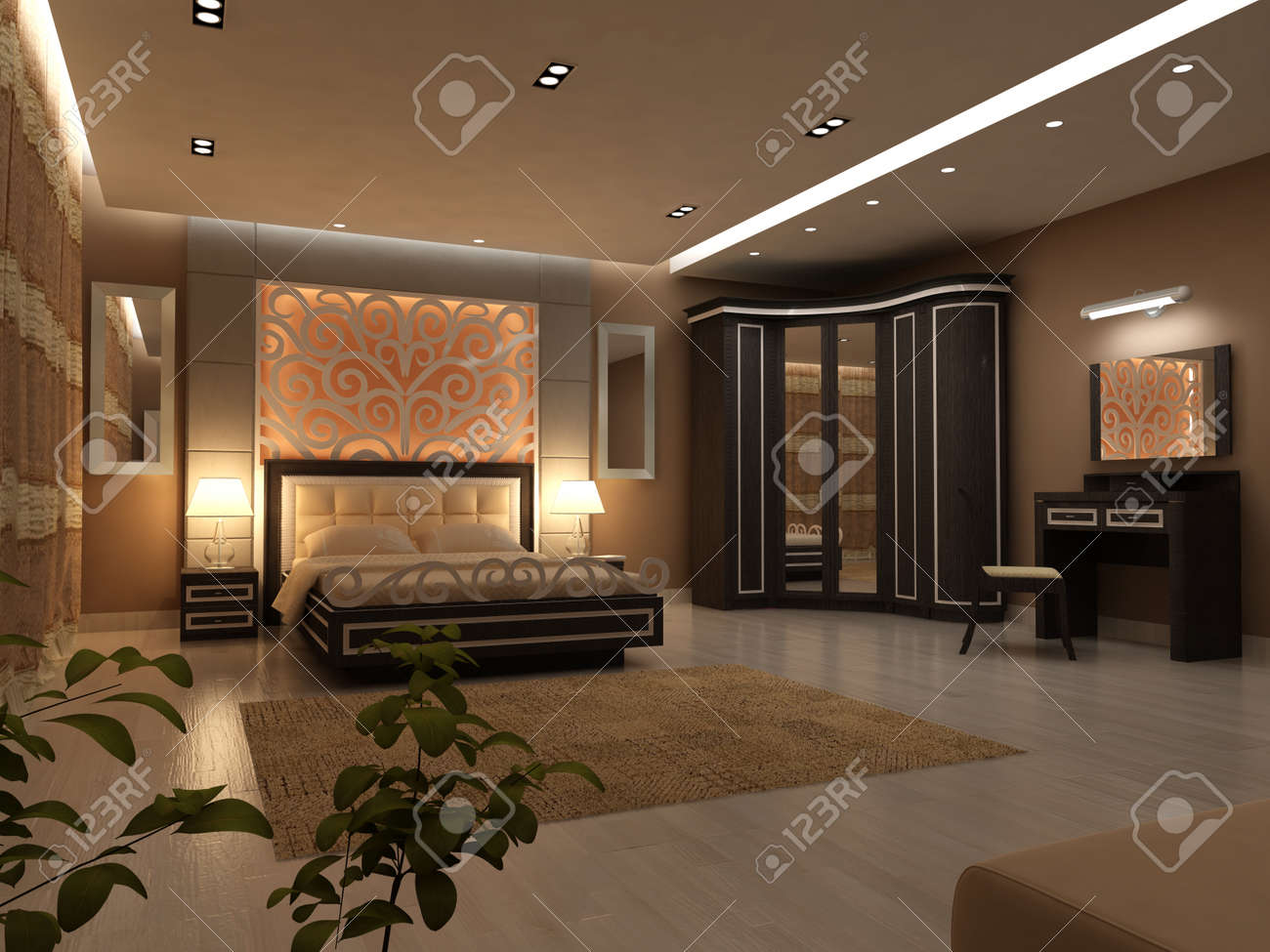 Interior design of big modern Bedroom in artificial lighting Stock Photo -  37388904