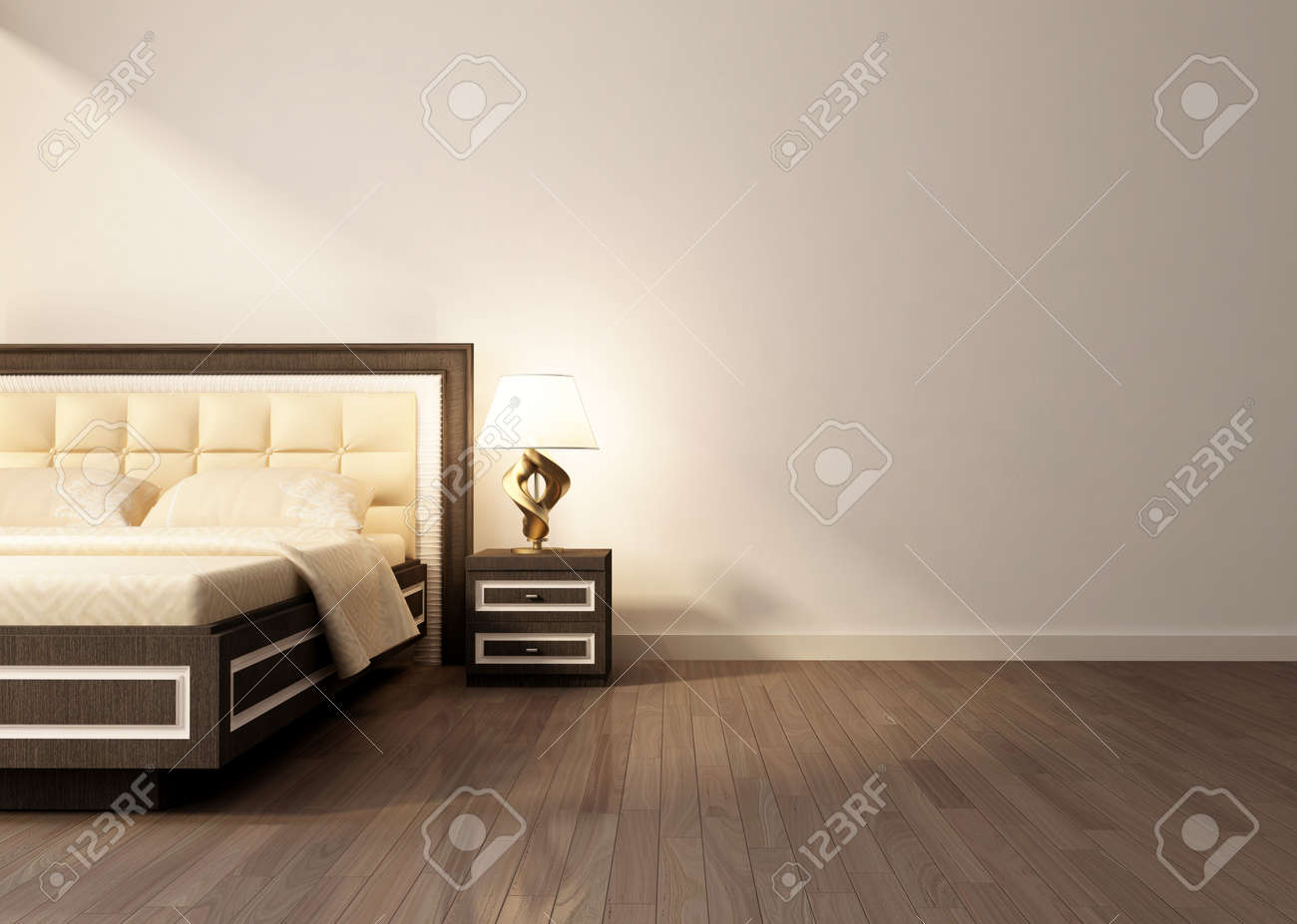 Modern Interior Room With King Size Bad. 3D Rendering Stock Photo   37461261