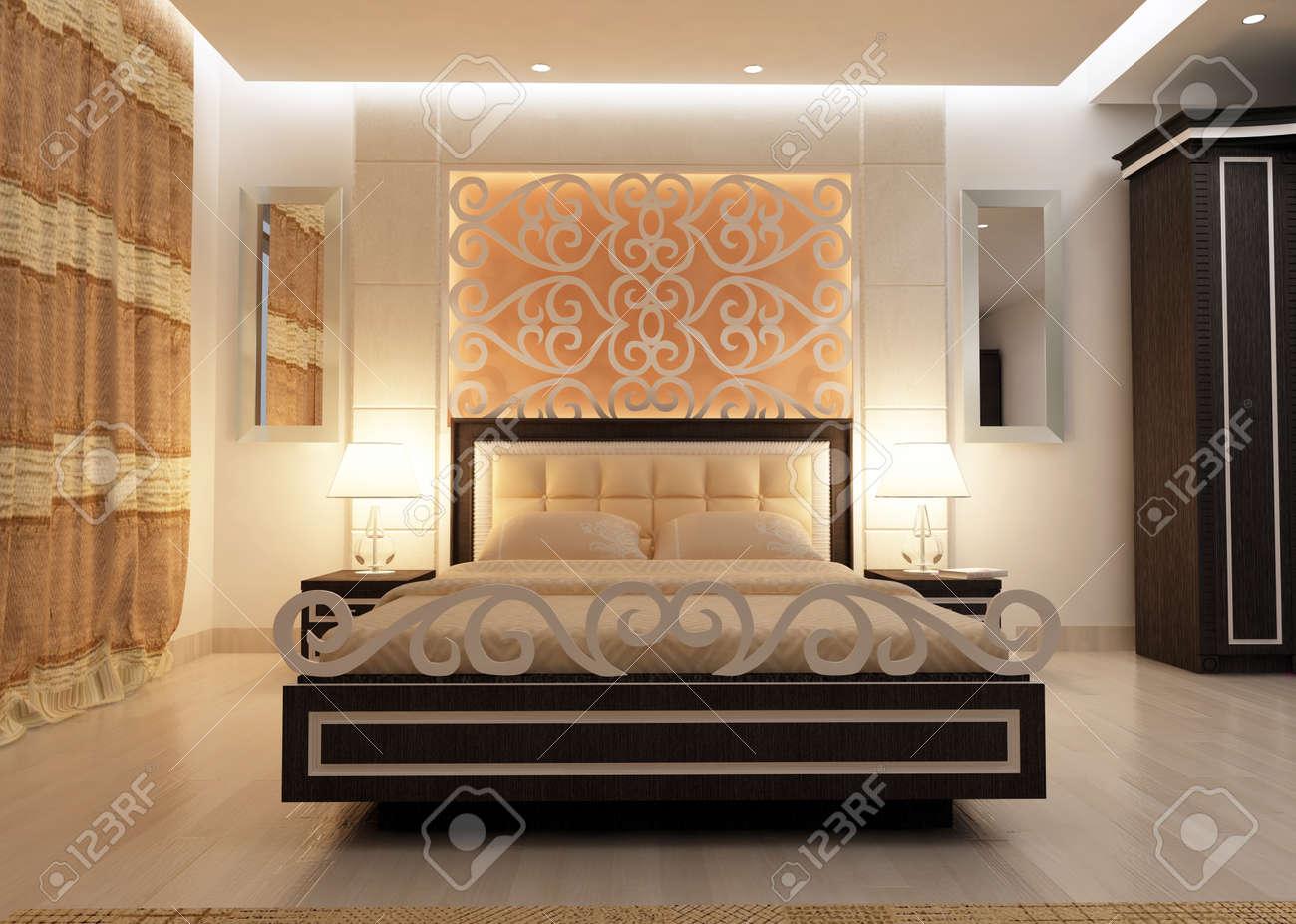 Interior design of big modern Bedroom in artificial lighting  3D rendering  Stock Photo   37459519. Interior Design Of Big Modern Bedroom In Artificial Lighting