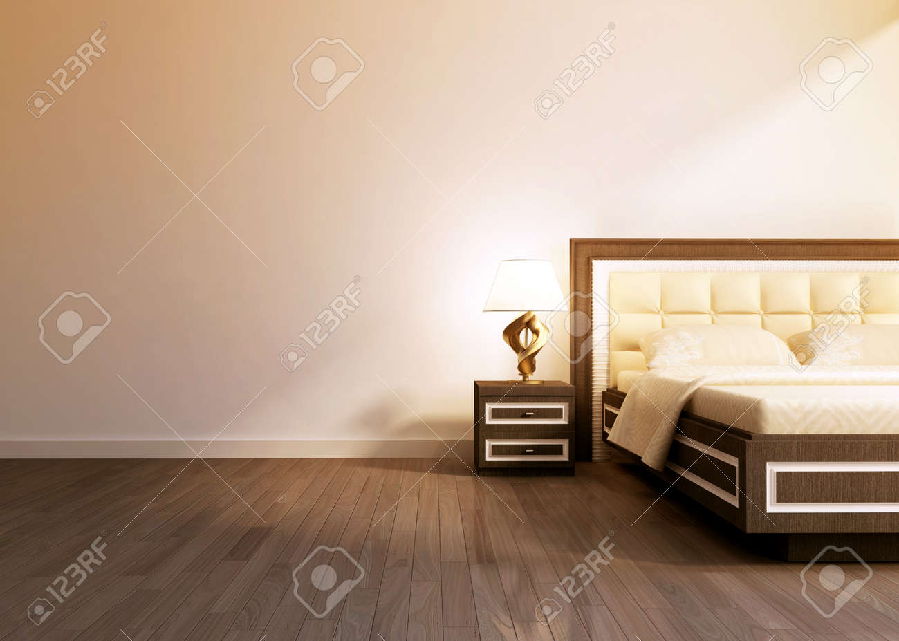 Modern Interior Room With King Size Bad. 3d Rendering Stock Photo ... Bad Design Beige