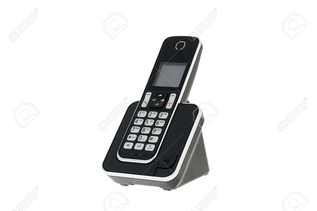 Modern Cordless Landline Dect Phone With Charging Station Isolated On White  Stock Photo   75949276