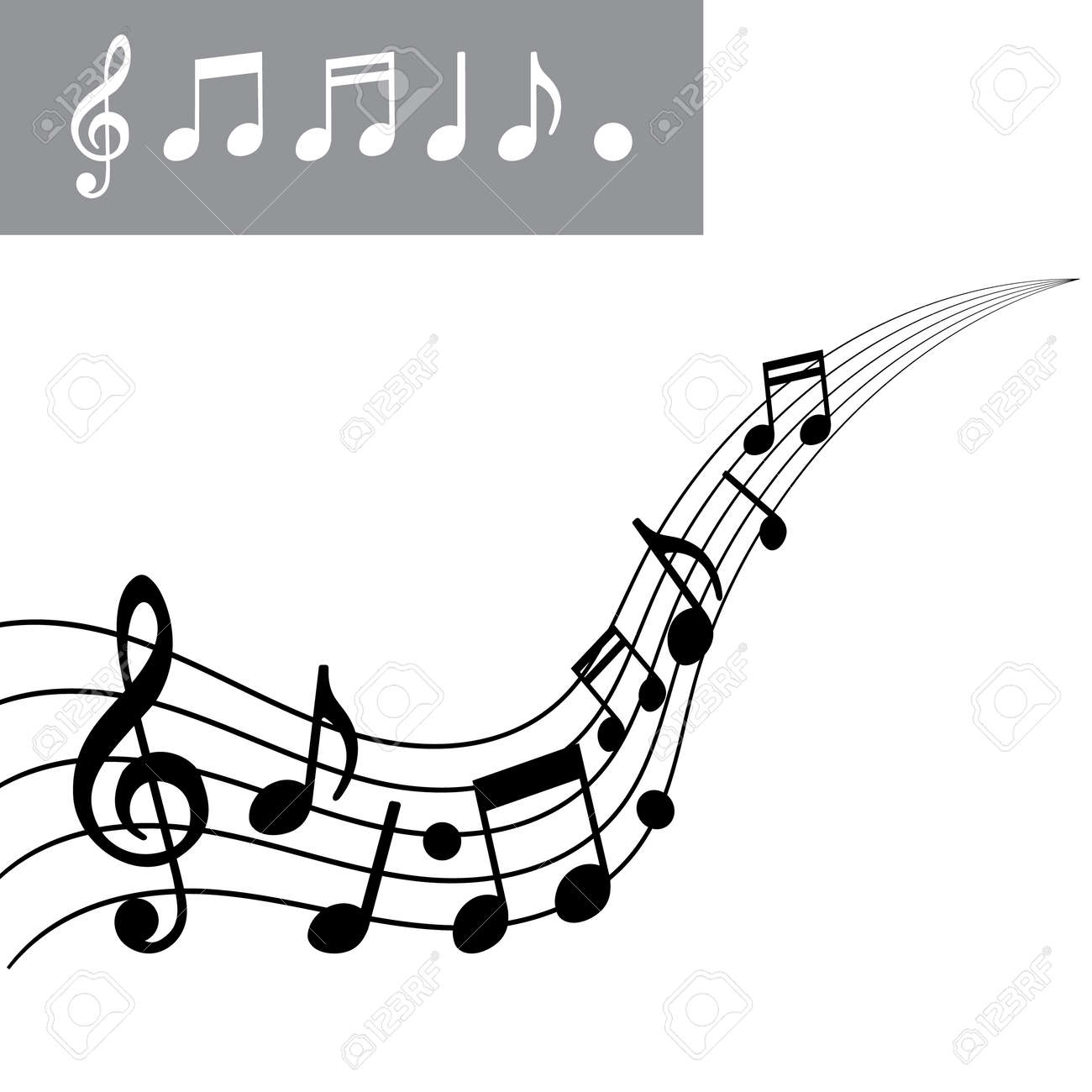musical notes on scale music note icon set vector illustration rh 123rf com Wind Swirls Clip Art Music Notes