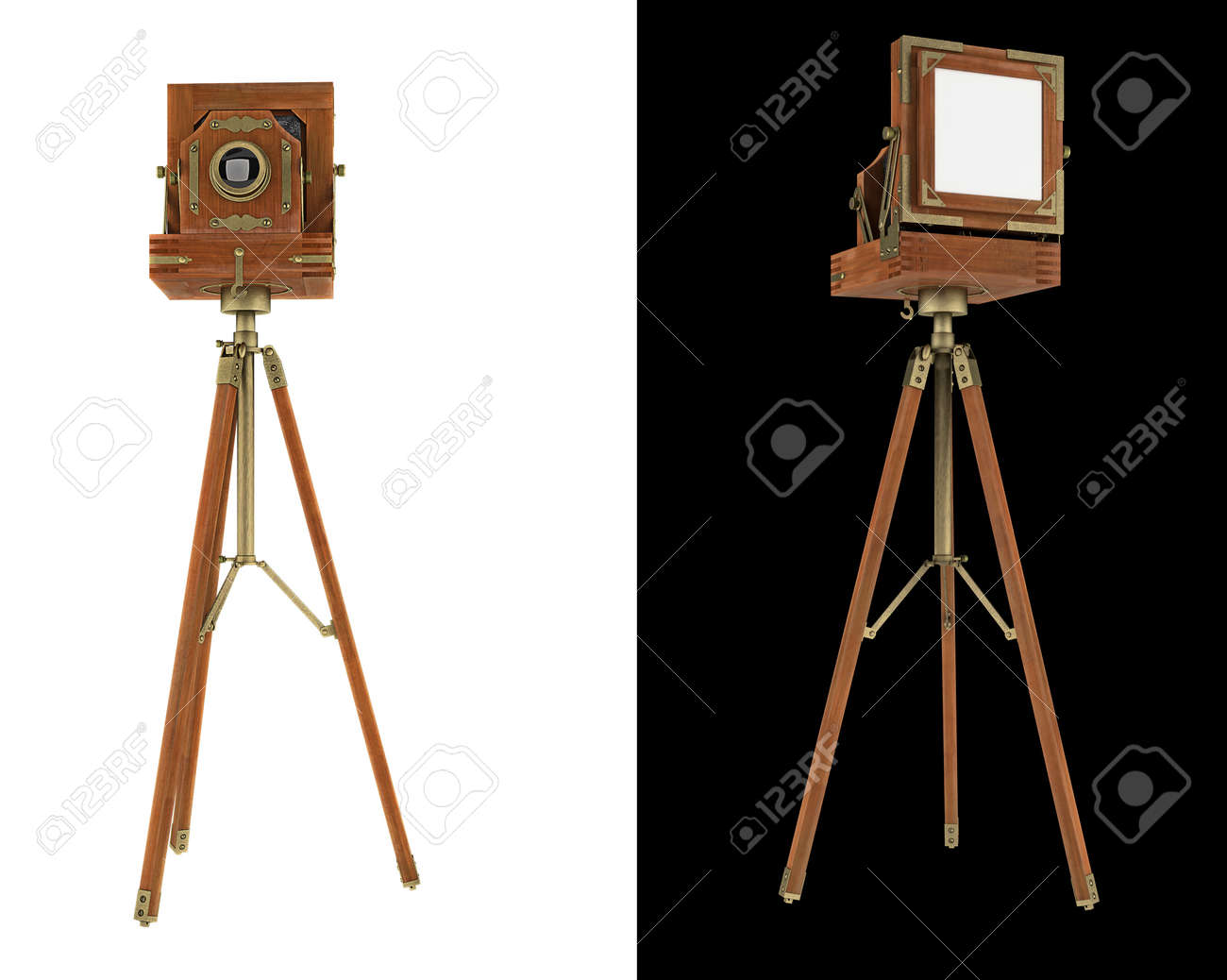 Old large format camera on tripod isolated on white Stock Photo - 10417143