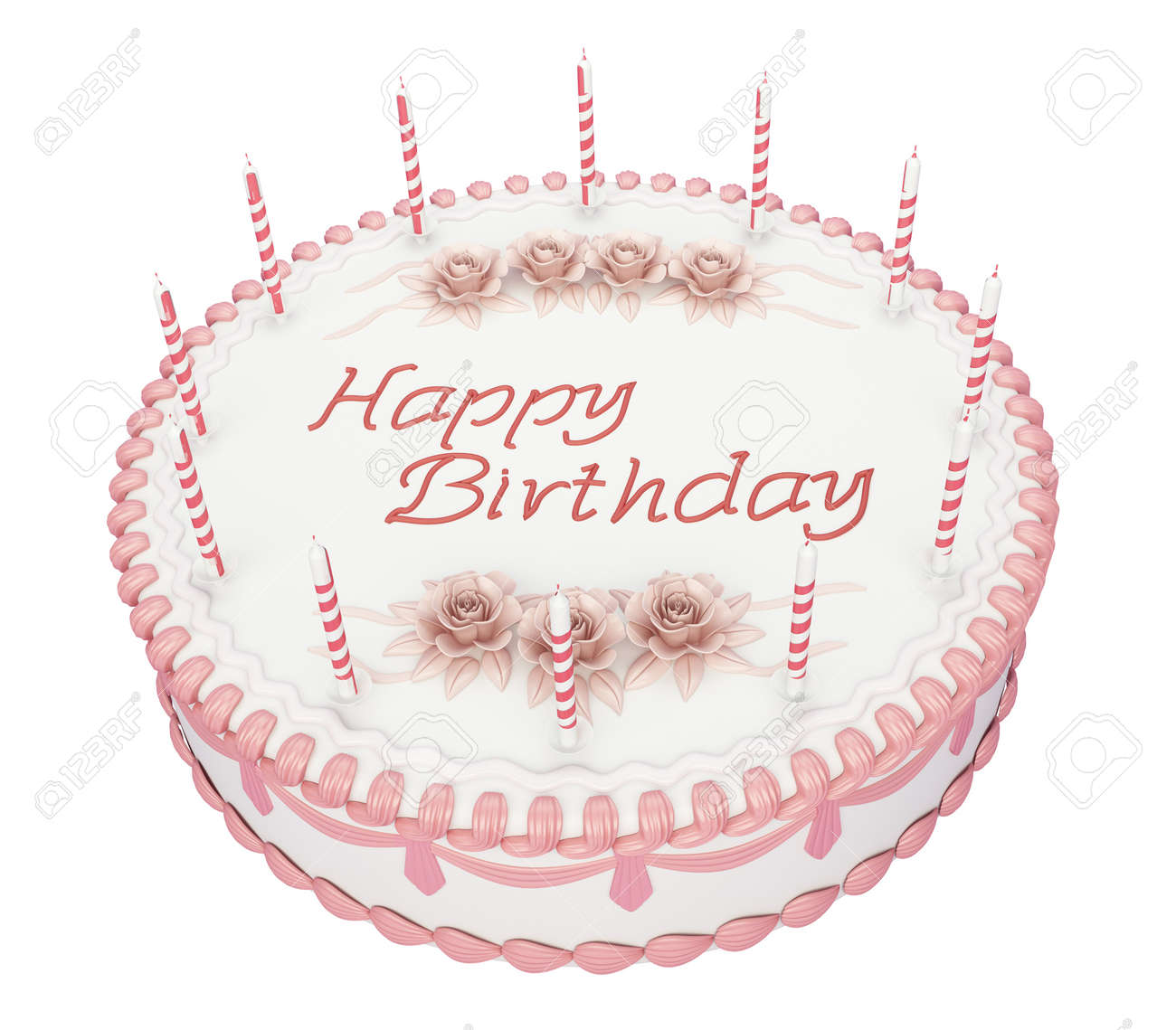 Birthday Cake With Candles And Roses With Greetings Words Stock