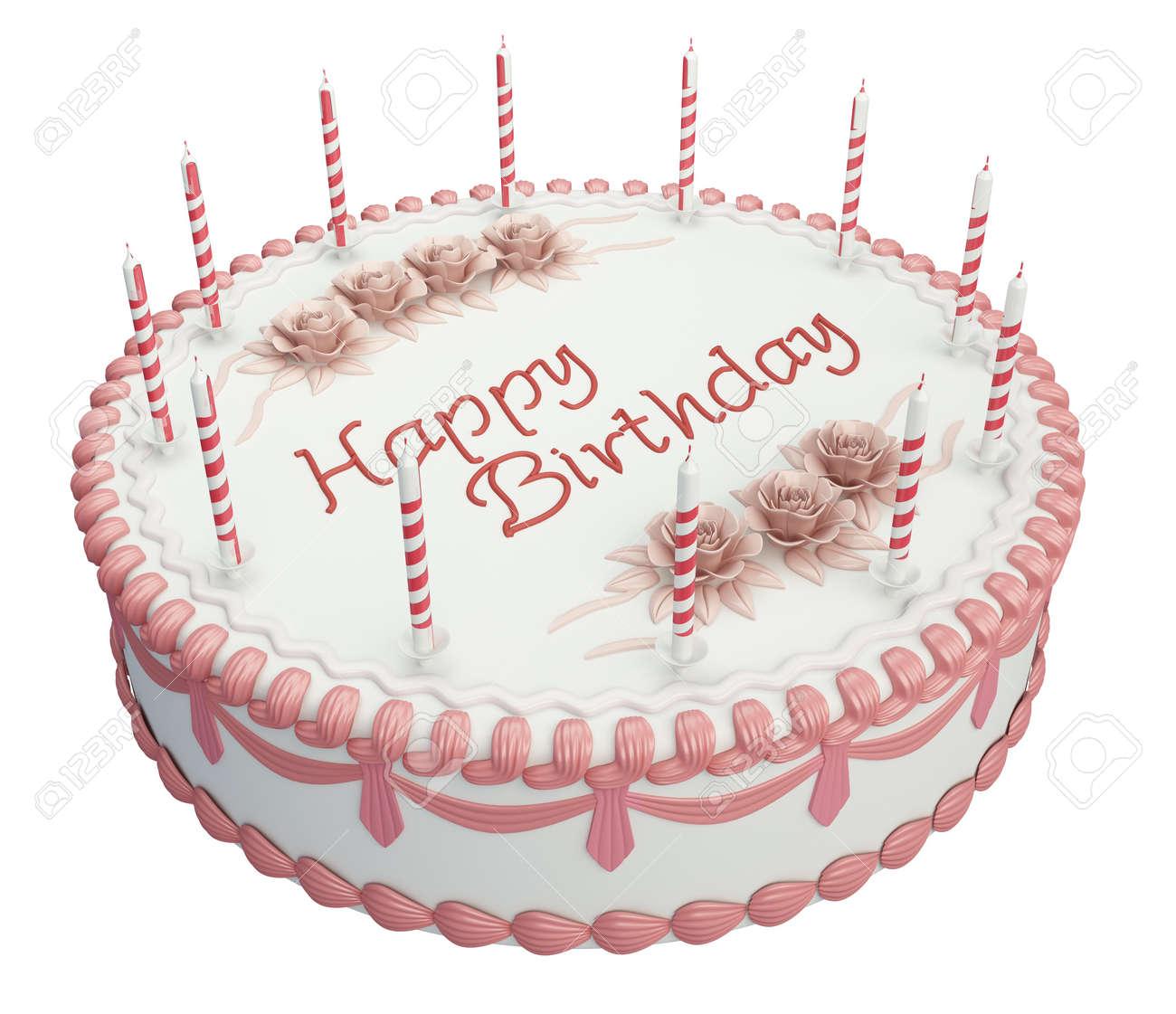 Grusse Geburtstagstorte Mit Kerzen Und Rosen Isoliert Uber Weiss