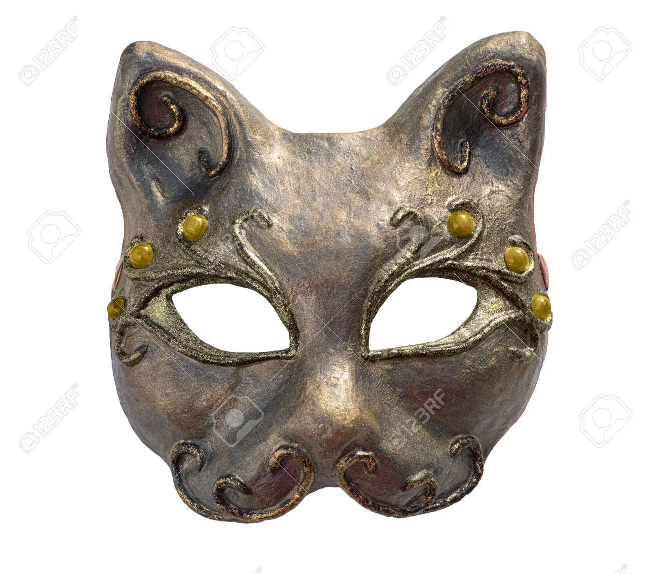 Papier Mache pour interior and carnaval mask of cat, isolated on white. papier-mache