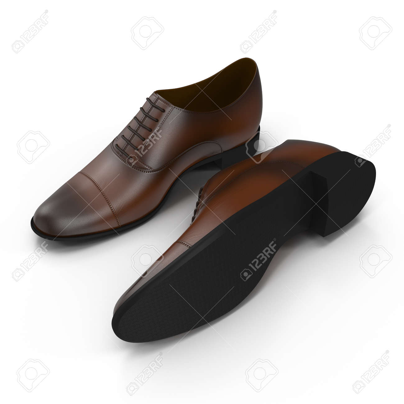 82bea460b8 Foto de archivo - Zapatos de cuero de los hombres aislados sobre un fondo  blanco