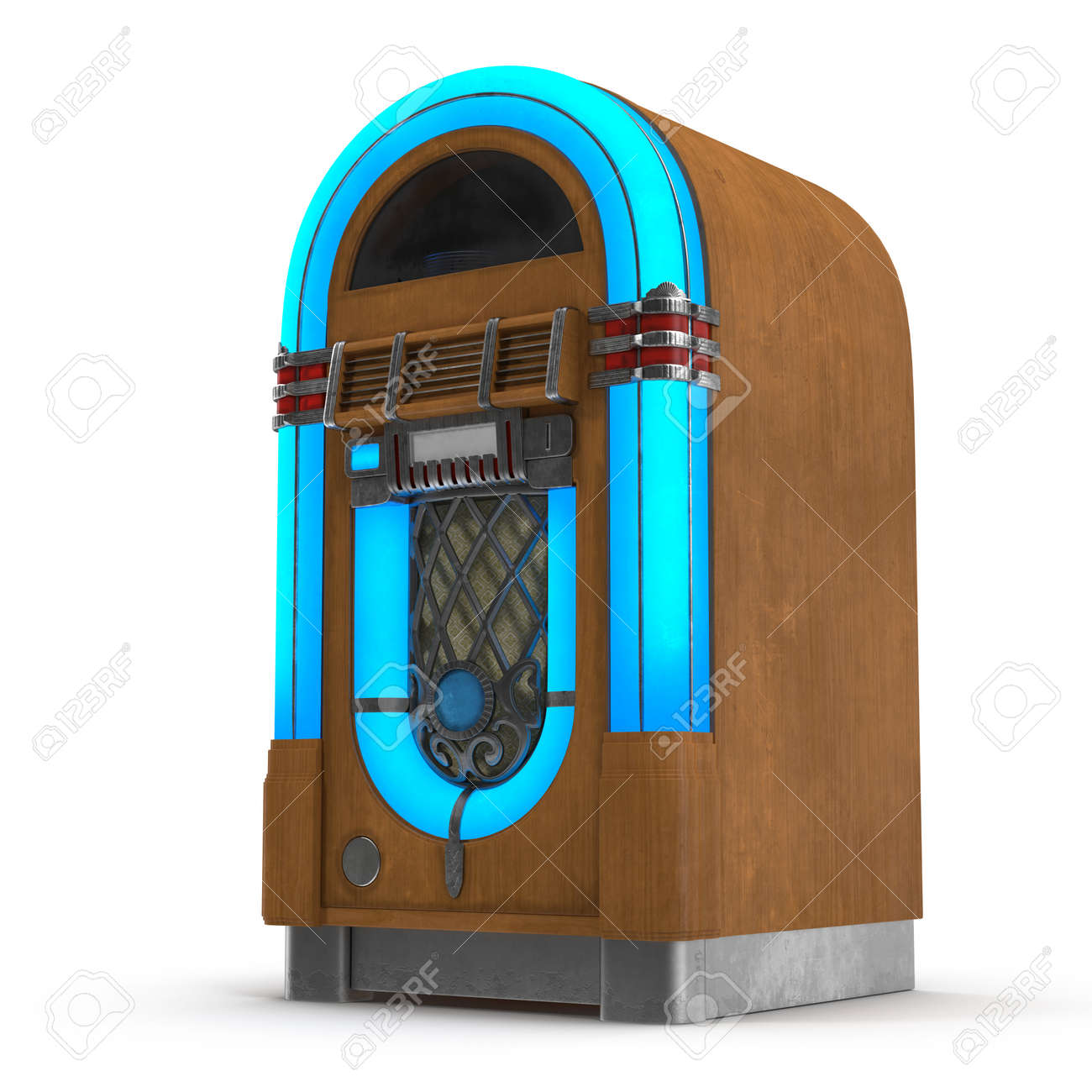 Old Jukebox Music Player Isolated On White Background 3D