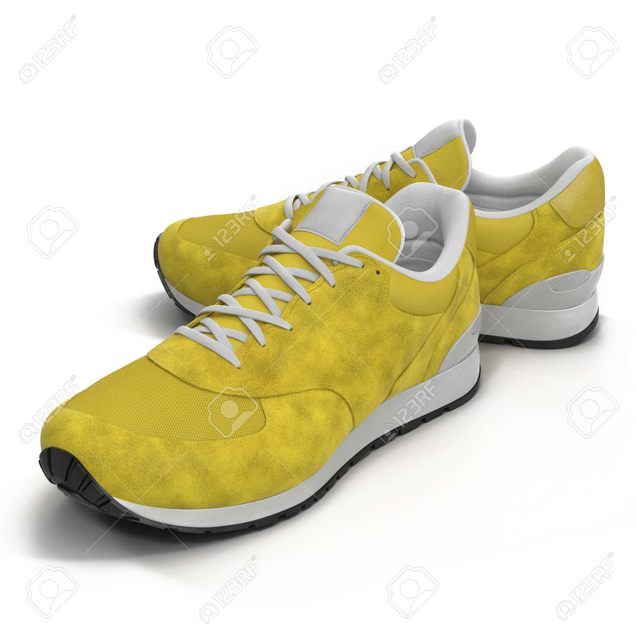 6ca64edb16af79 Illustration - Yellow sneakers isolated on White Background 3D Illustration