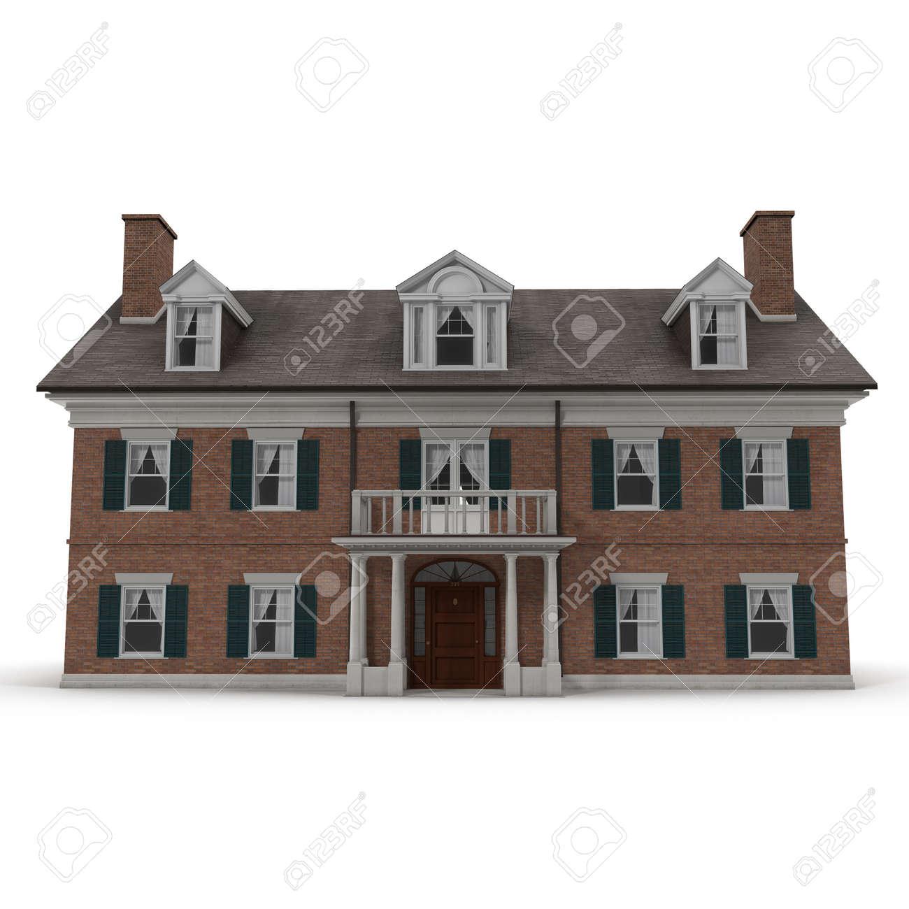 Kolonialstil Wiedergabe Home Außen Auf Weißem Hintergrund. 3D ...