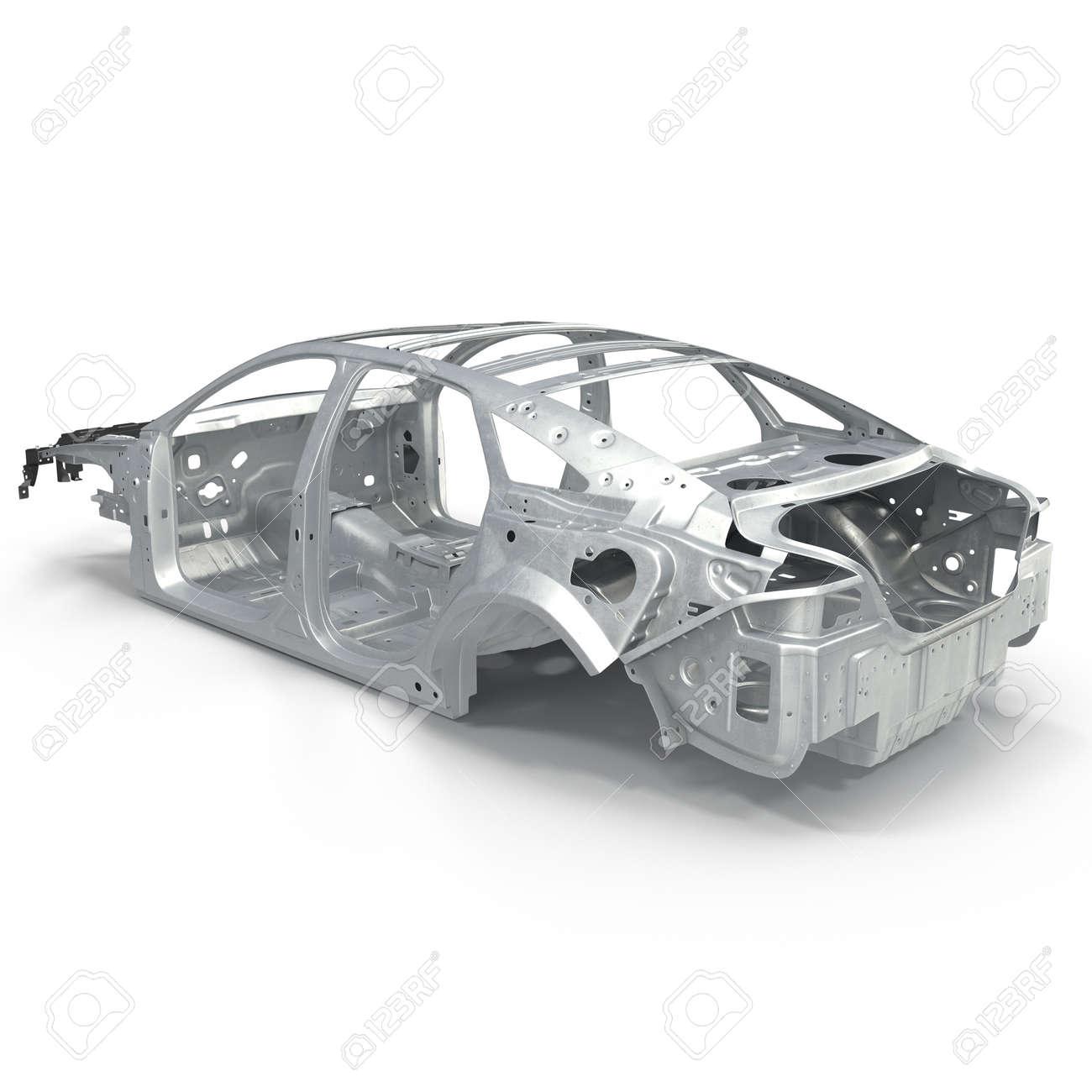 Auto-Rahmen Ohne Chassis Auf Weißem Hintergrund. 3D-Darstellung ...