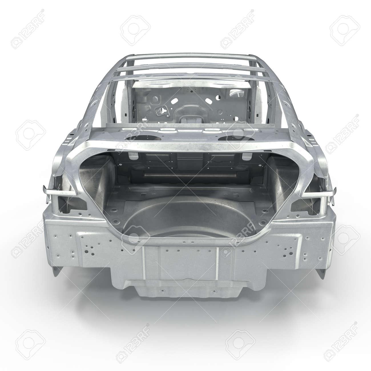 Rückansicht Auto-Rahmen Ohne Chassis Auf Weißen Hintergrund. 3D ...