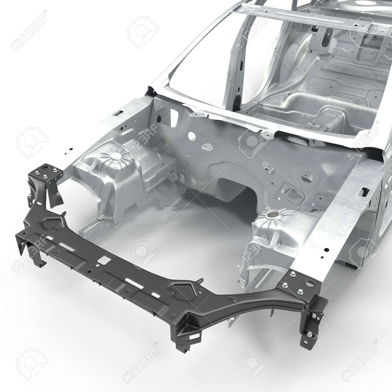 Car Frame Without Chassis On White Background. 3D Illustration Stock ...