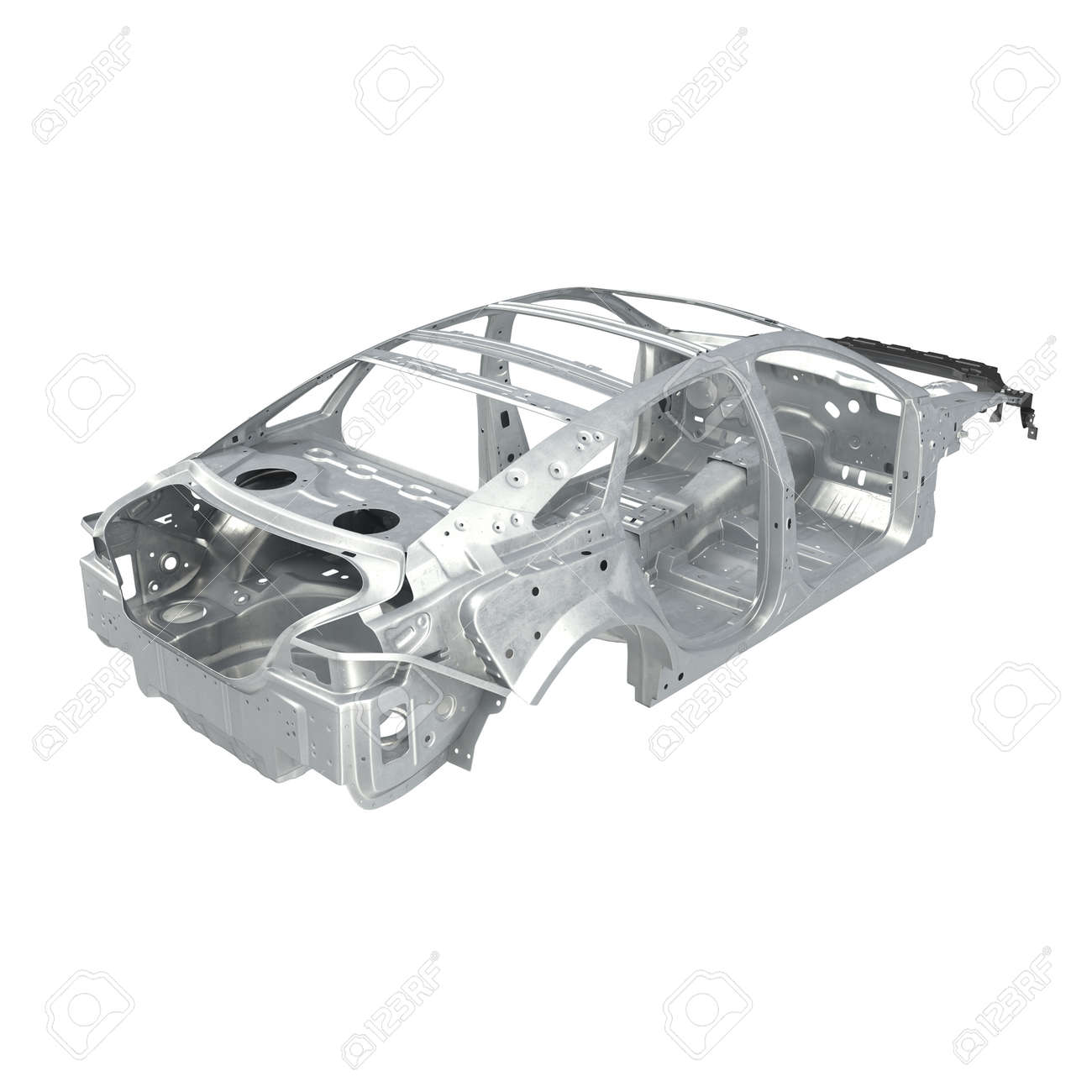 Design of car frame - Car Frame Without Chassis On White Background Angle From Up 3d Illustration Stock Illustration