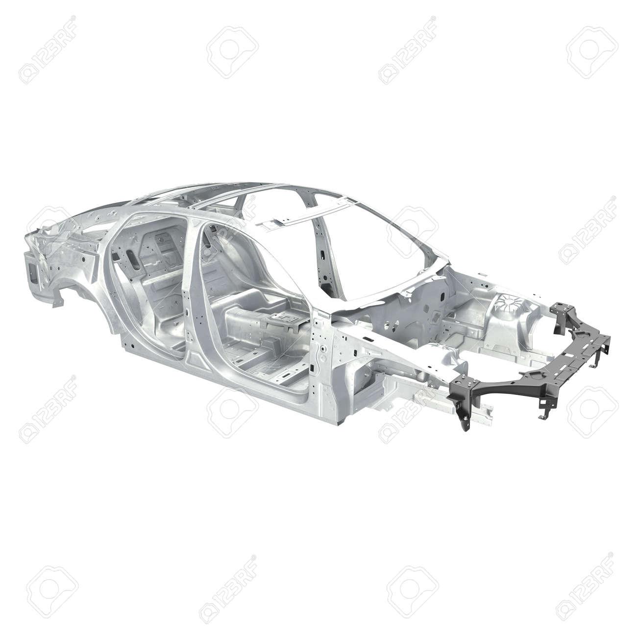 Auto-Rahmen Ohne Chassis Auf Weißem Hintergrund. Winkel Von Oben. 3D ...