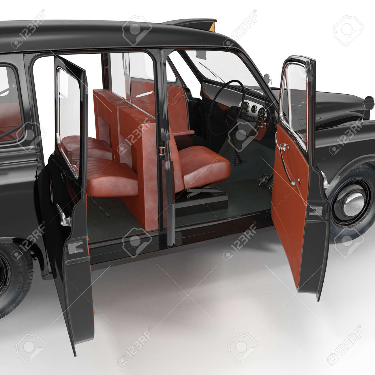Illustration - Old Black Cab interior on white background. Doors opened. 3D illustration & Old Black Cab Interior On White Background. Doors Opened. 3D.. Stock ...