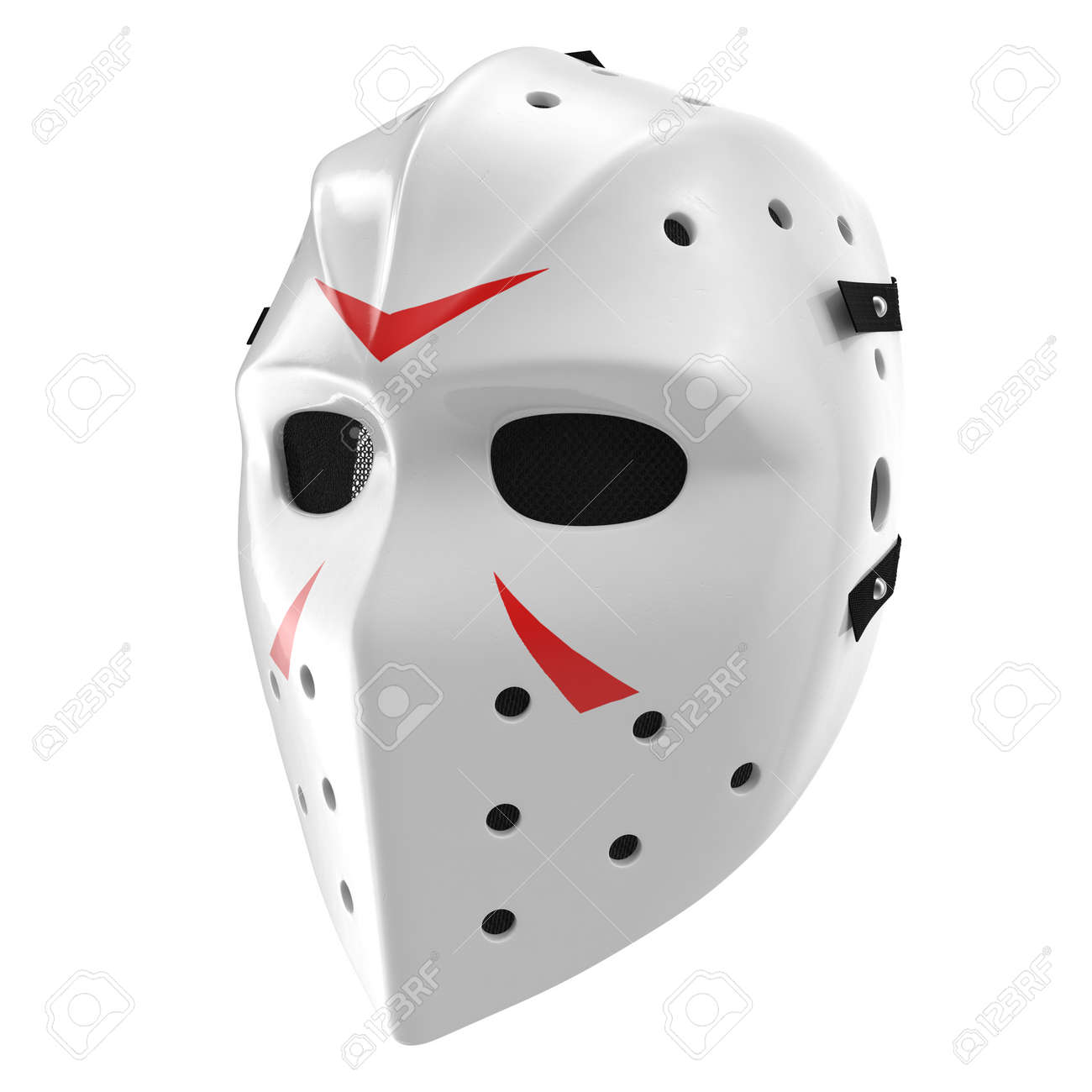 scary hockey halloween mask on white background. 3d illustration