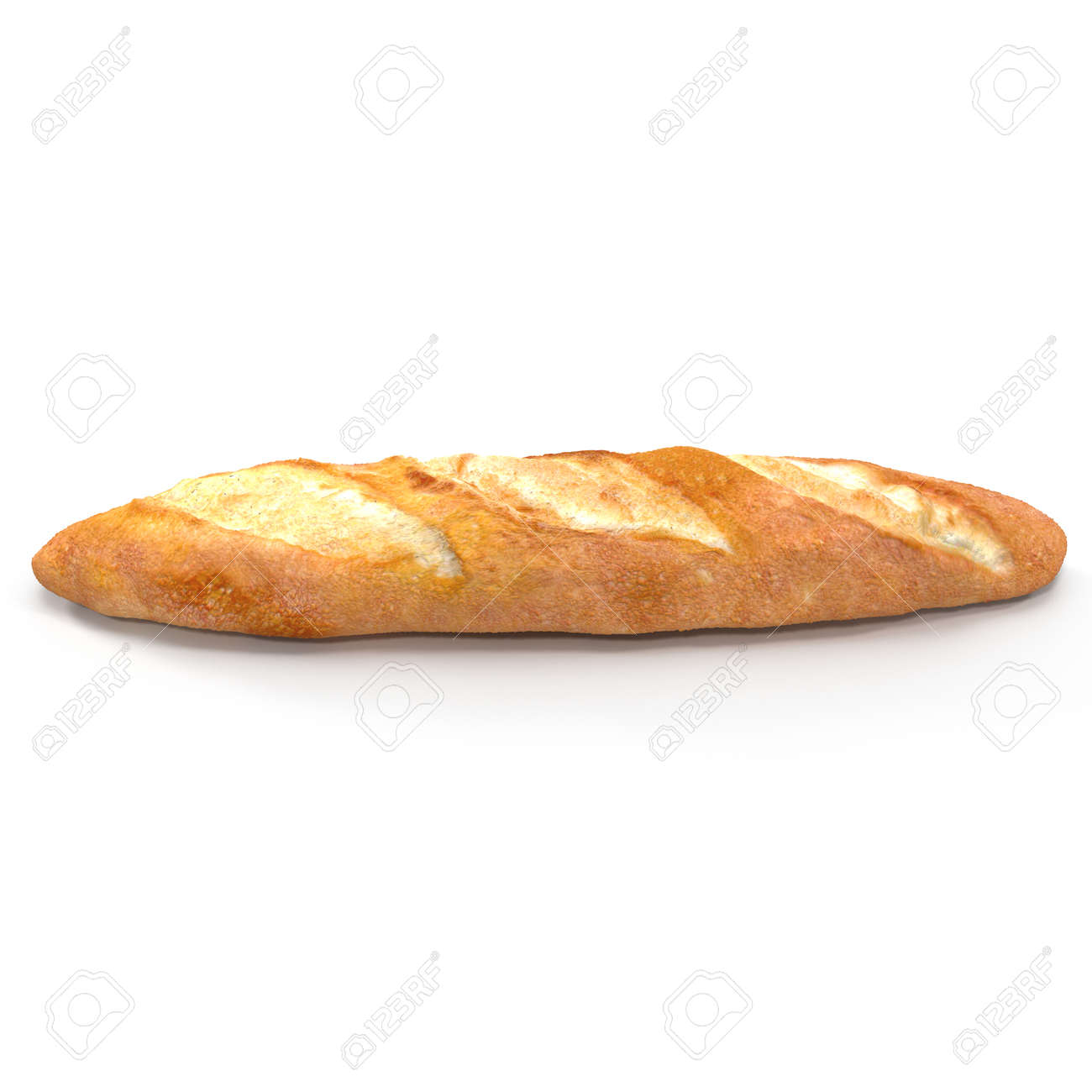 French Baguette Bread Isolated On A White Background Bakery Side View 3D Illustration Stock