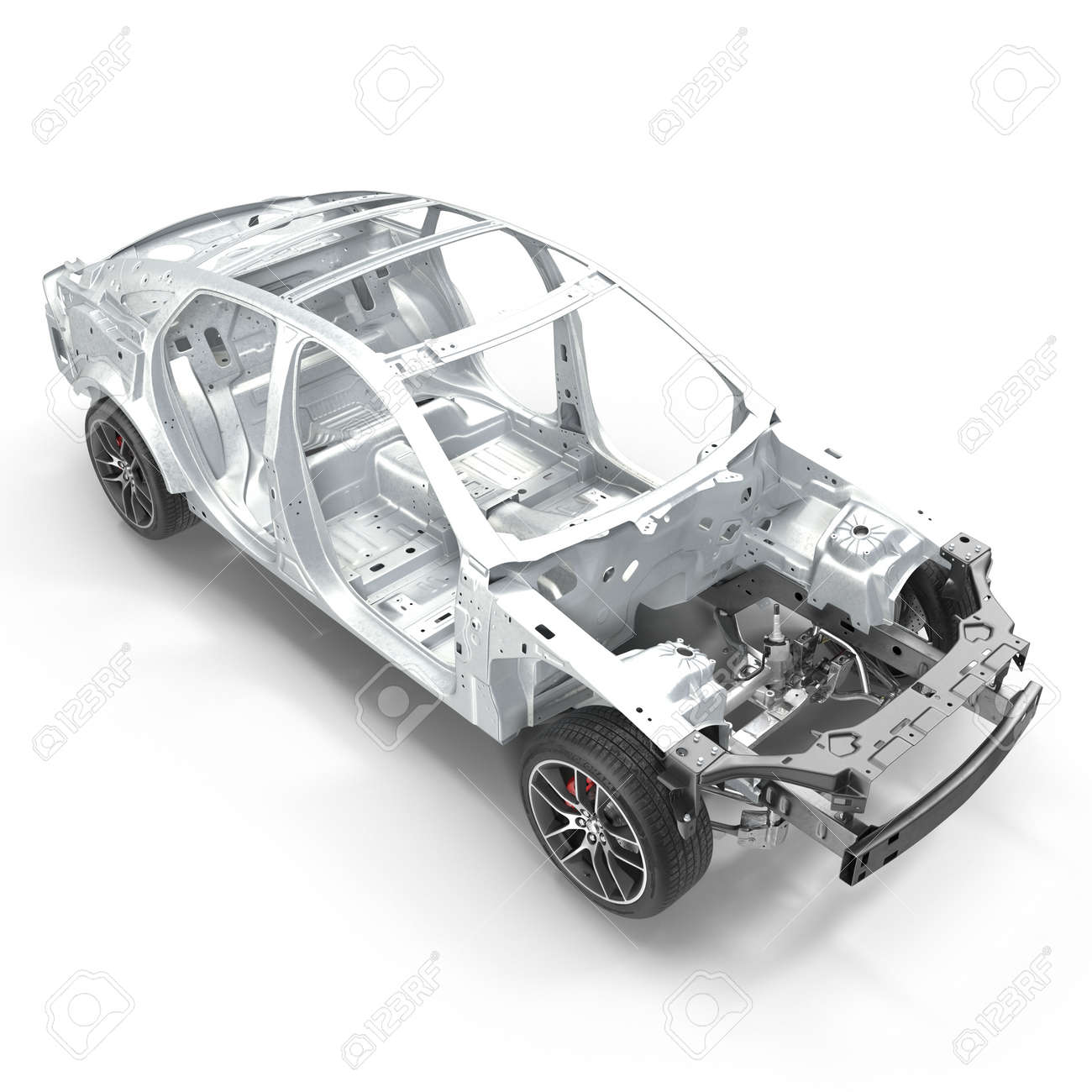 Angle From Up Car Frame With Chassis On White. 3D Illustration Stock ...