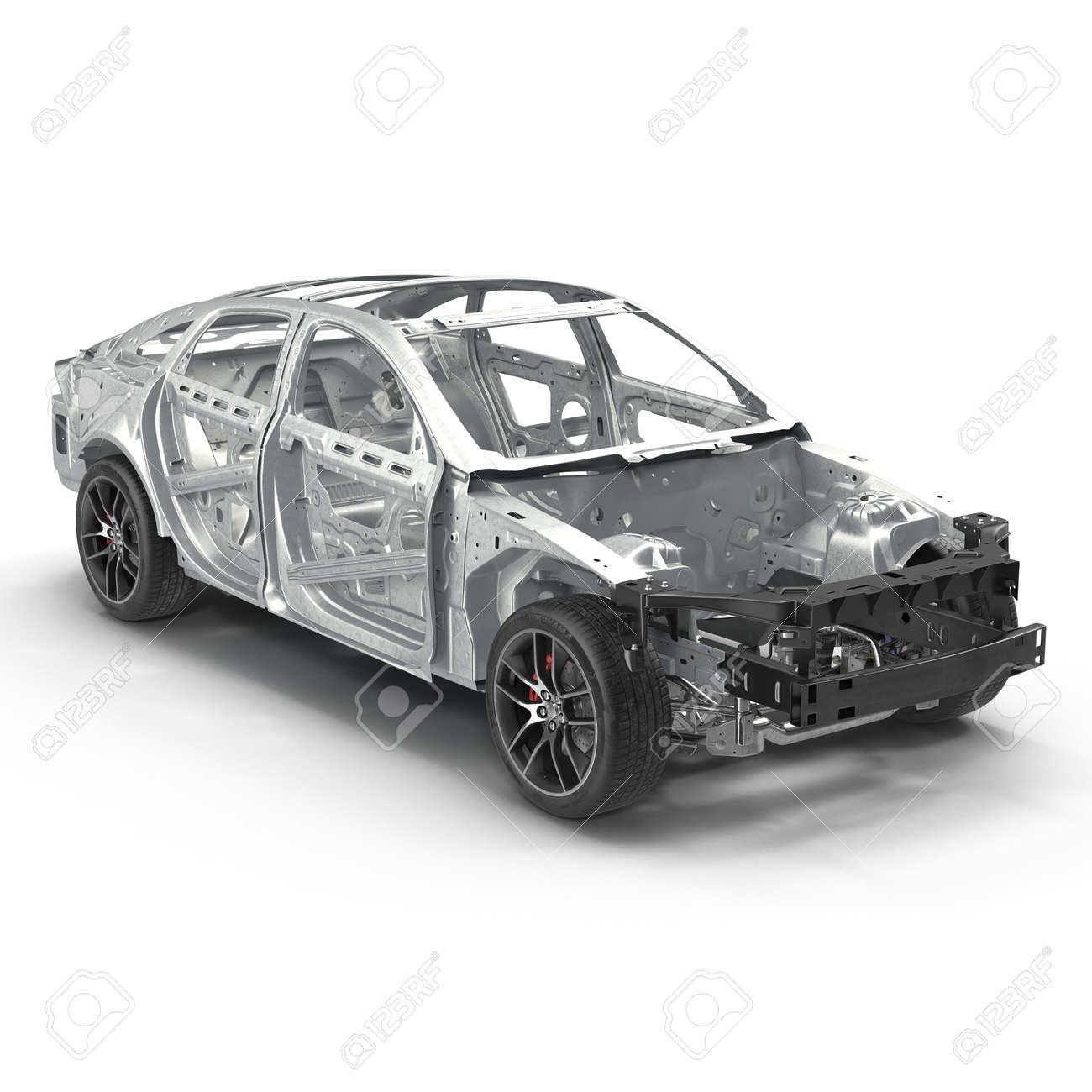 Auto-Rahmen Mit Chassis Auf Weiß. 3D-Darstellung Lizenzfreie Fotos ...