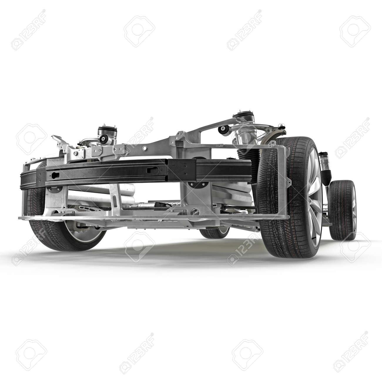Sedán Chasis Con Motor Eléctrico Con Batería Aislada En Blanco ...