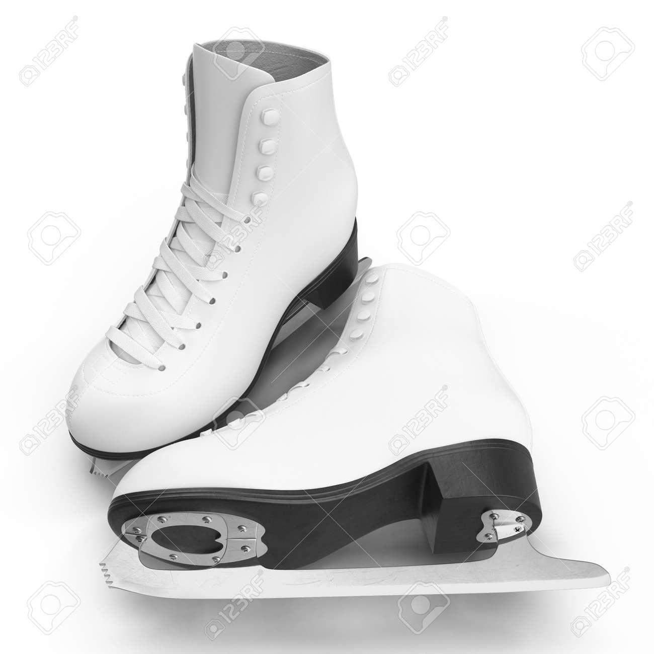 白フィギュア スケート靴白で隔...