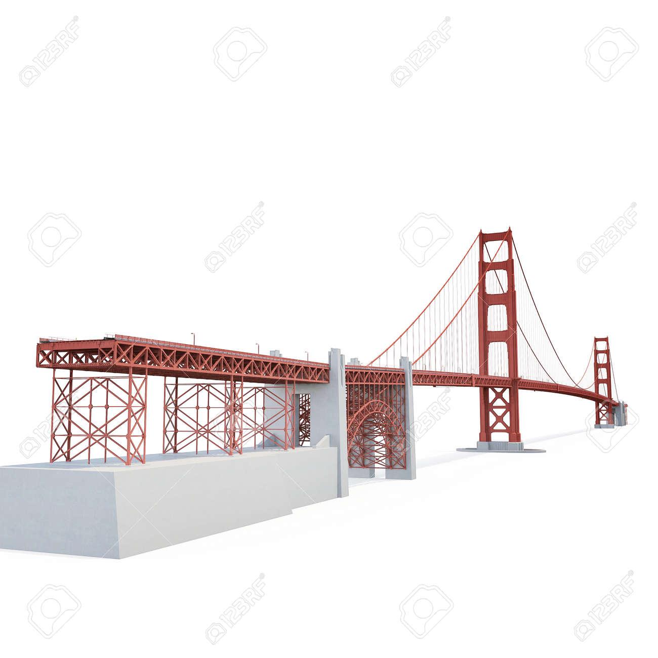 Golden Gate Bridge On White Background 3d Illustration Stock Photo Diagram Of The 81303450