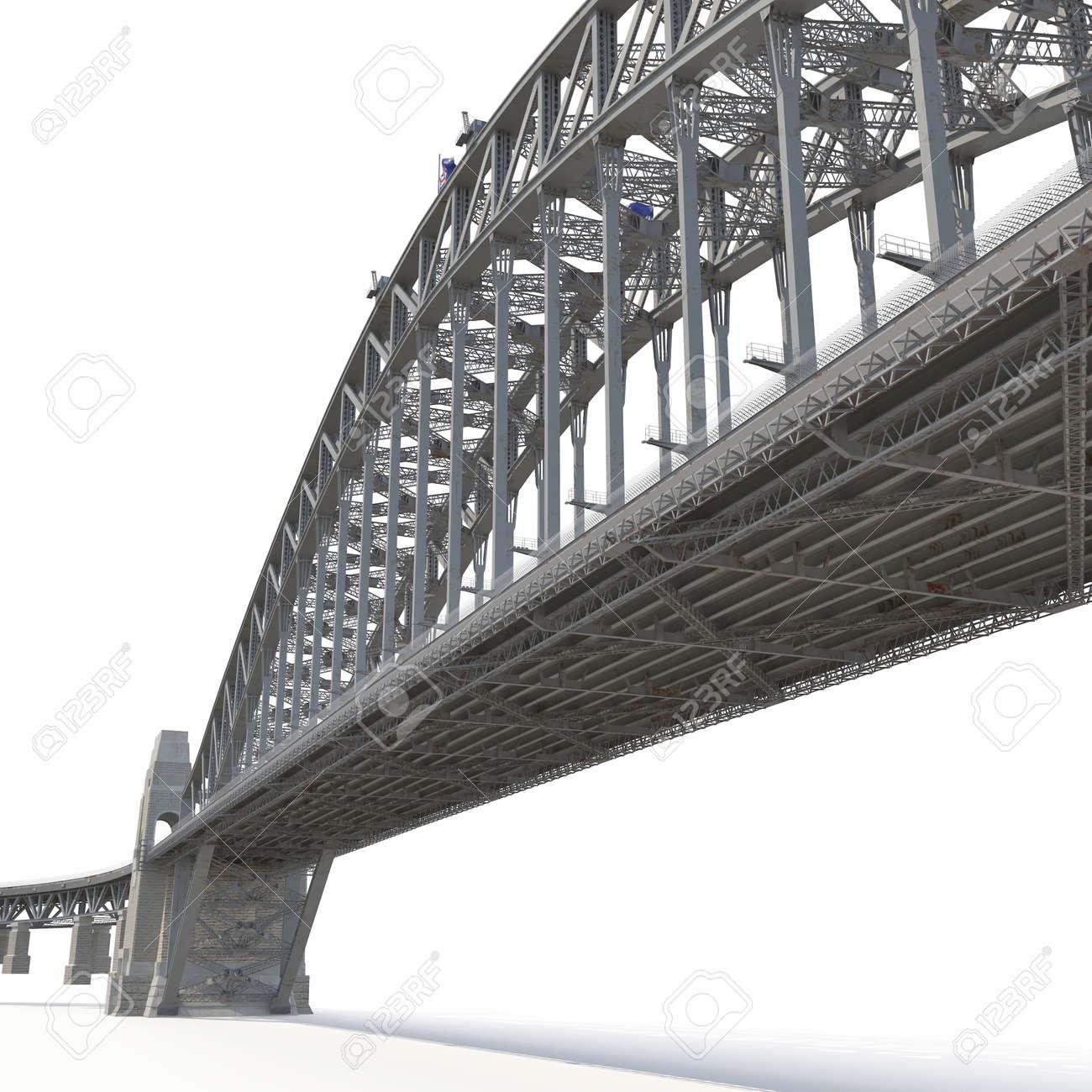 Sydney Harbour Bridge On White Background 3d Illustration Stock Truss Diagram Beam