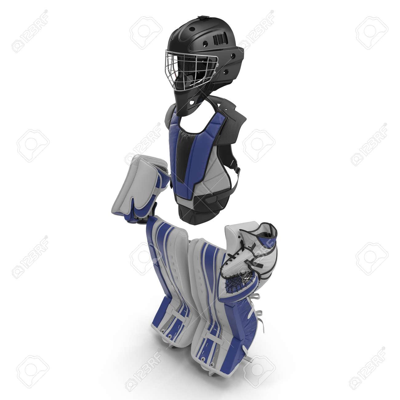 Hockey Goalie Protection Blue Kit 3d Illustration On White