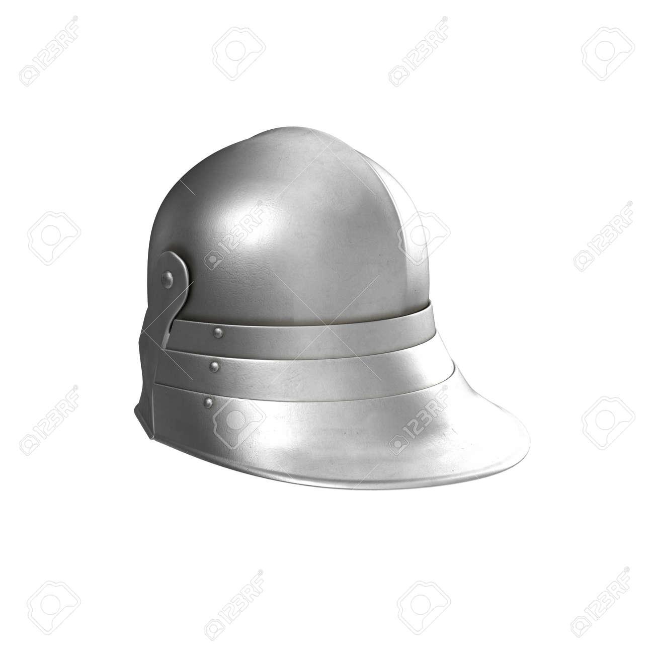 German Sallet Medievaval Helmet  Render On White Background