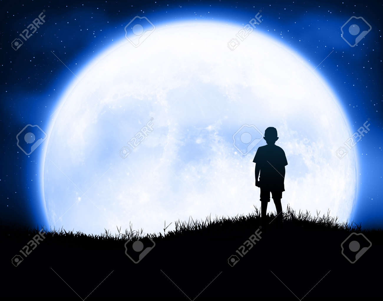 Kids at night with moon royalty free stock photography image - Kid With Moon Stock Photo 28881518