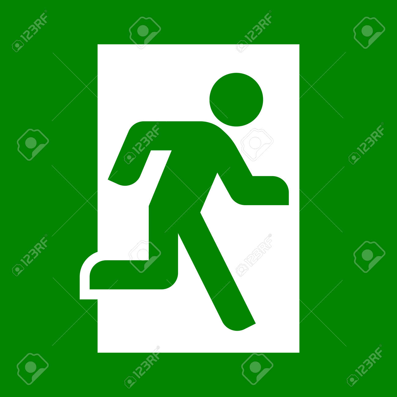 emergency exit sign vector flat illustration royalty free cliparts