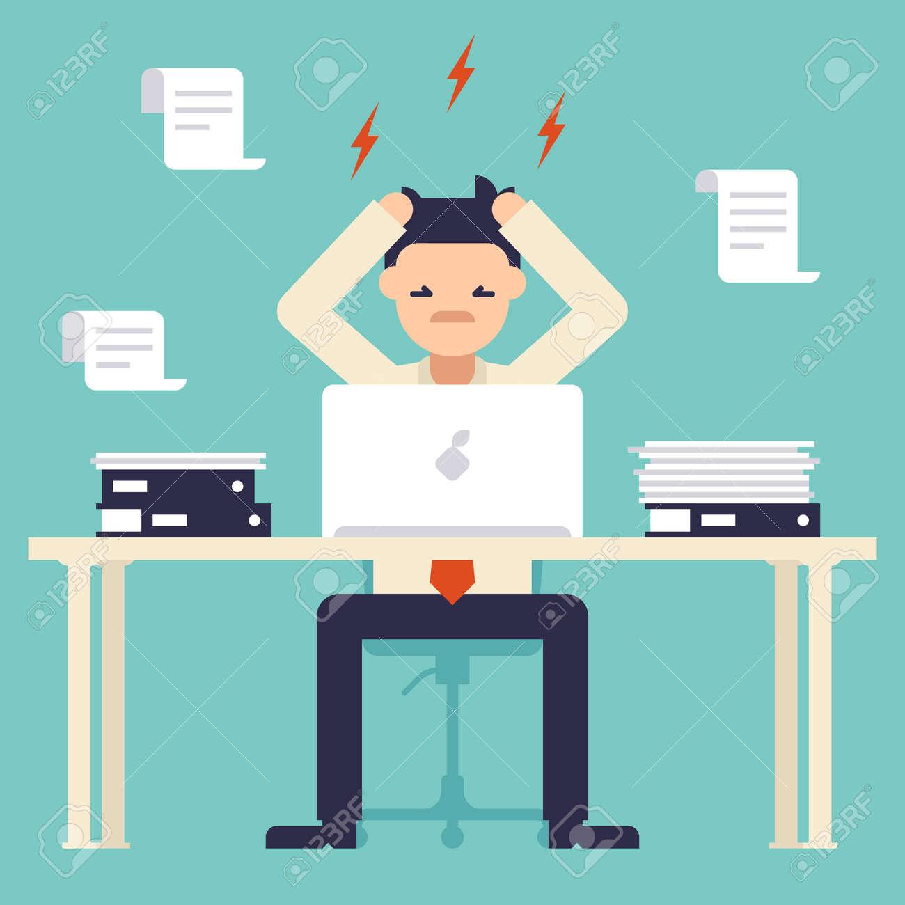 Viel Arbeit Stress Bei Der Arbeit Besetzt Zeit Der Geschaftsmann