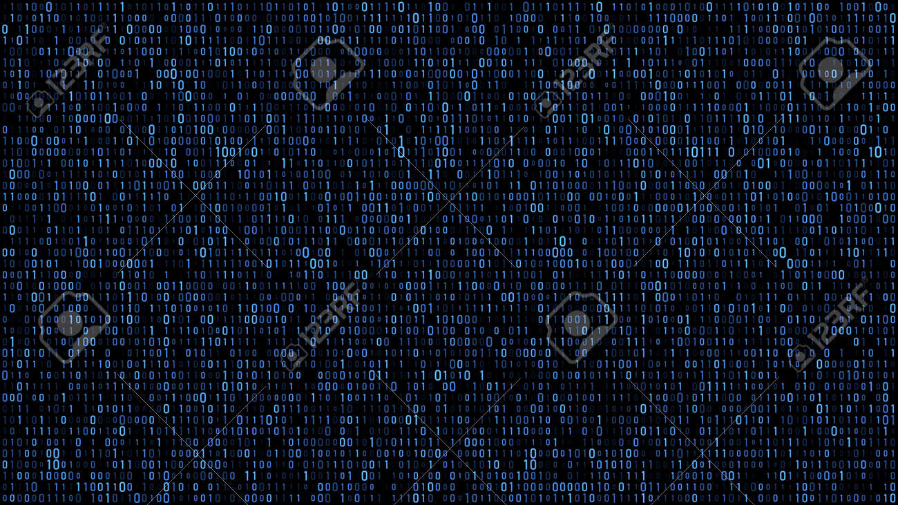 Abstract binary matrix code blue - 117693778