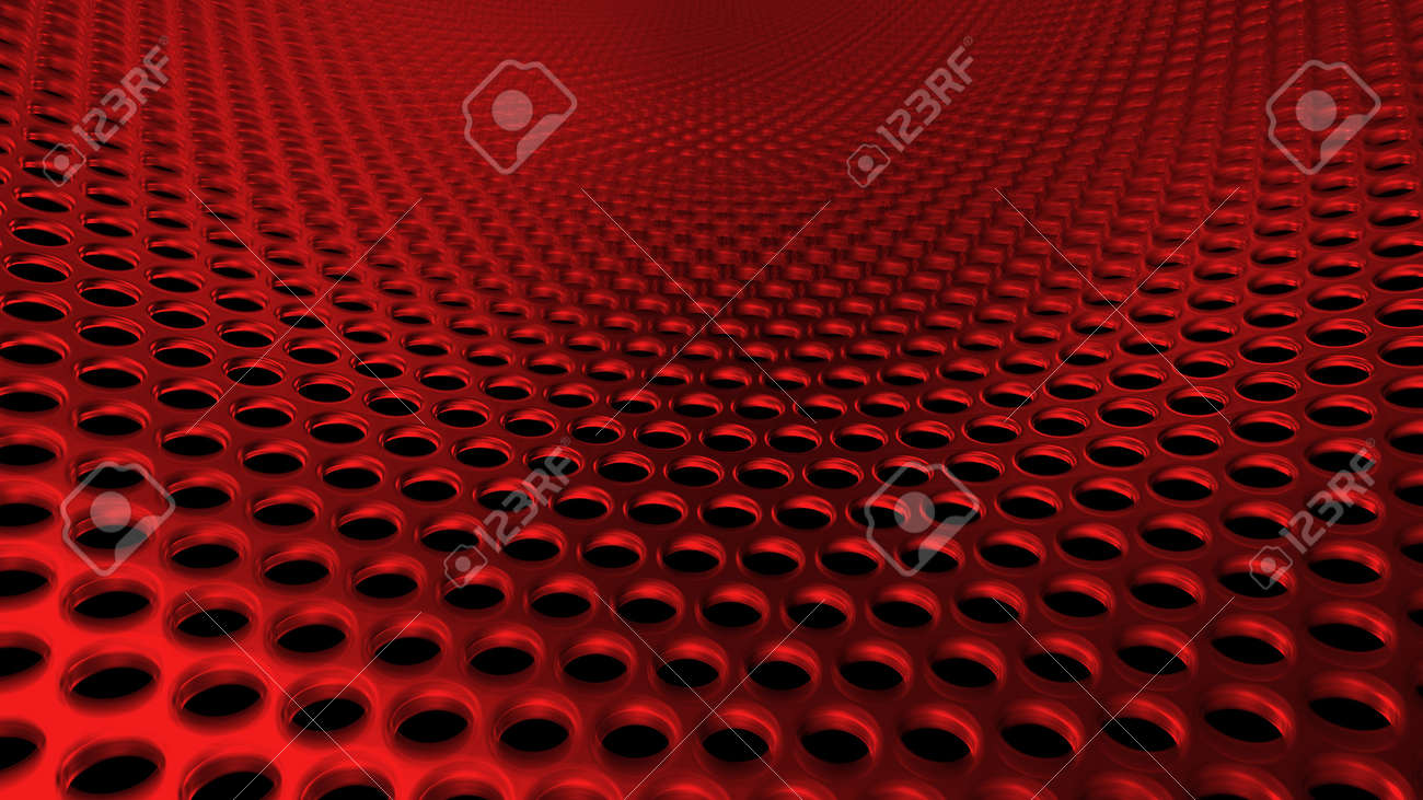 Geometric abstract background of red from circles. 3D render of a curved perforated metal surface in perspective - 132223651