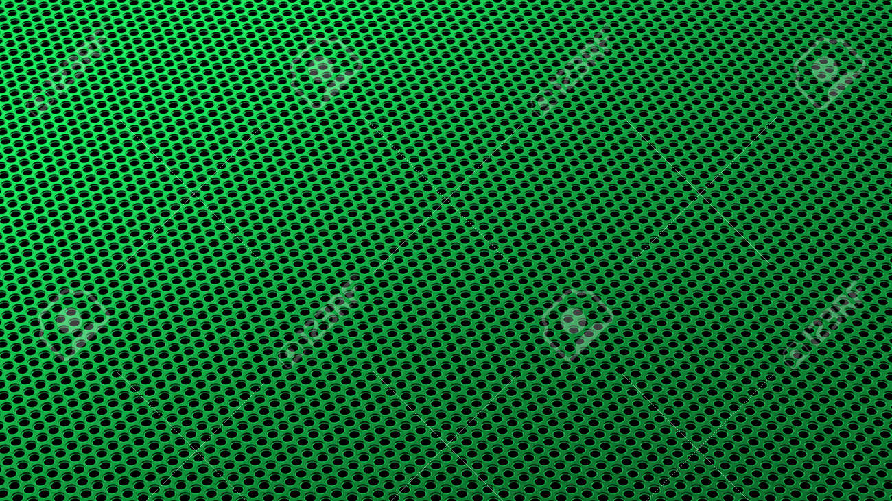 Geometric abstract background of green from circles in isometry. 3D render of a curved perforated metal surface in perspective - 132224940