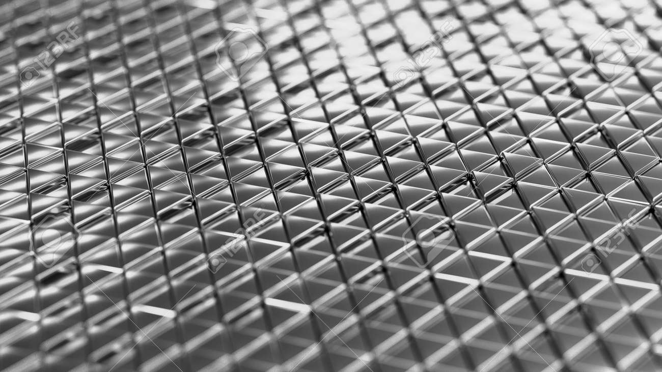 Metallic background silver isometry. Wallpaper precious materials. The surface of the triangles. Illustration 3d visualization - 132224951