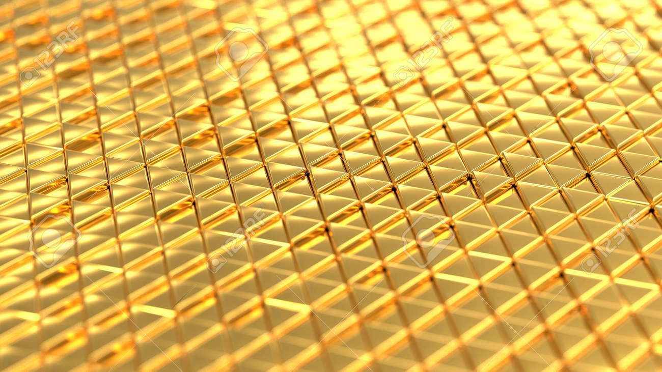 Metallic background gold isometry. Wallpaper precious materials. The surface of the triangles. Illustration 3d visualization - 132224955