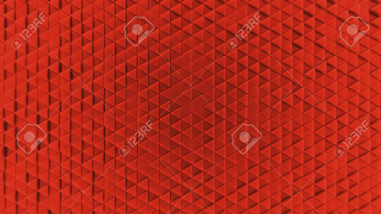 Background made of red plastic triangles. background. Illustration 3d visualization - 132224968