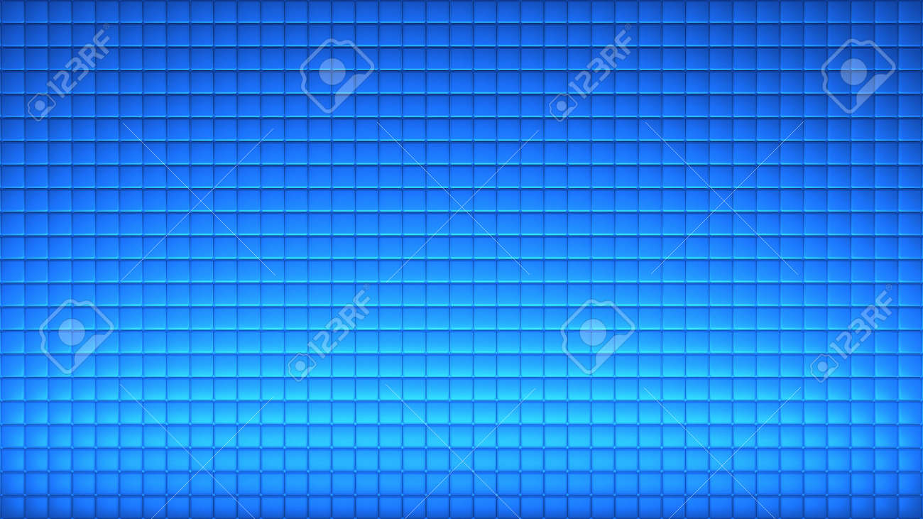 Geometric abstract wallpaper of blue color. 3d render background of squares - 132225008