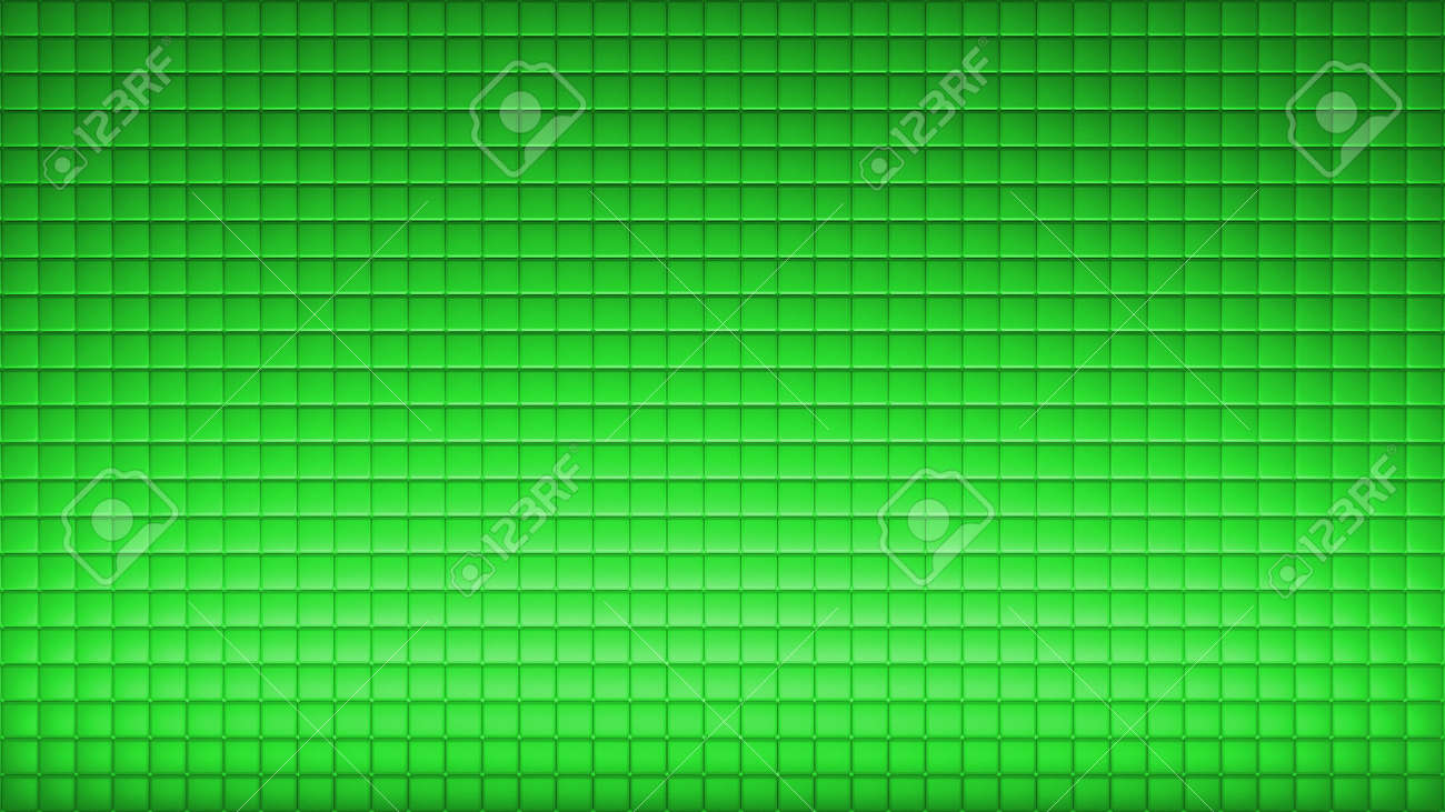 Geometric abstract wallpaper of green color. 3d render background of squares - 132225009